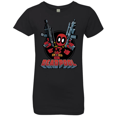 Marvel Deadpool Big Guns Girls Princess T-Shirt Black / YXS Girls Princess T-Shirt - PresentTees
