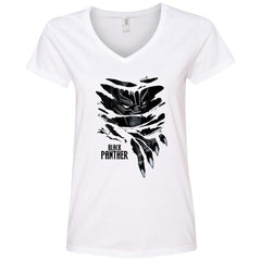 Marvel Black Panther Breaks Through T Shirt Ladies V-Neck T-Shirt - PresentTees