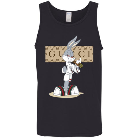 Gucci Rabbit Smoking Funny T-shirt Men Cotton Tank Black / X-Small Men Cotton Tank - PresentTees