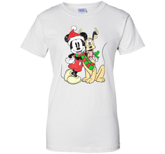 Disney Mens Mickey Mouse & Pluto Christmas Holiday Distressed Print Ladies Custom - PresentTees