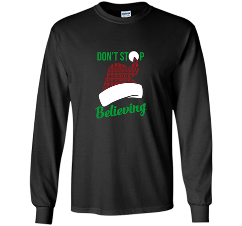 Don't Stop Believing Ugly Christmas Sweater Shirt Black / Small LS Ultra Cotton TShirt - PresentTees