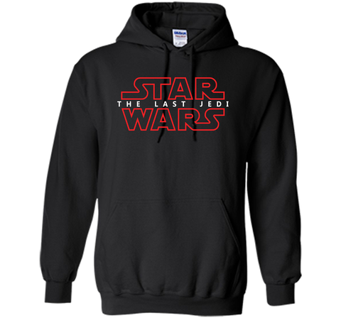 Star Wars Last Jedi Red Outline Logo Graphic Black / Small Pullover Hoodie 8 oz - PresentTees