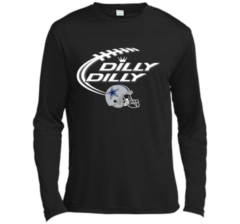 Dilly Dilly Dallas Cowboy Logo American Football Team Bud Light Christmas T-Shirt Black / Small LS Moisture Absorbing Shirt - PresentTees