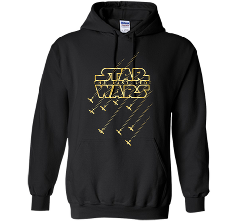 Star Wars Last Jedi Gold Platinum Rebel Fleet Logo Black / Small Pullover Hoodie 8 oz - PresentTees