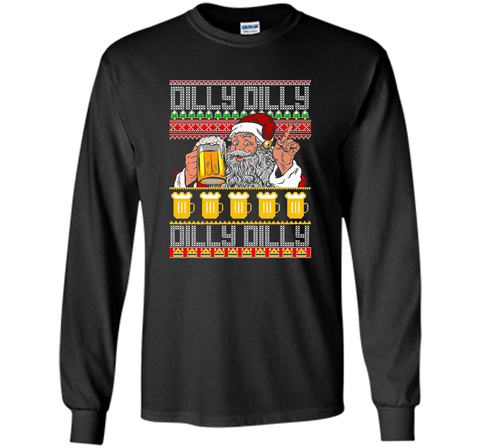 Dilly Dilly Christmas Sweater ugly T Shirt Black / Small LS Ultra Cotton TShirt - PresentTees