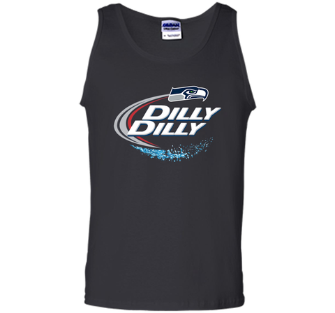 Seattle Seahawks SEA Dilly Dilly Bud Light T Shirt SEA NFL Football Gift for Fans Black / Small Tank Top - PresentTees