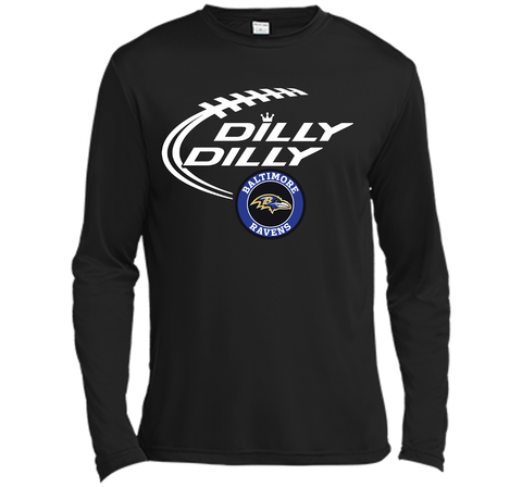 DILLY DILLY Baltimore Ravens shirt Black / Small LS Moisture Absorbing Shirt - PresentTees