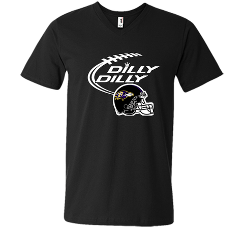 Dilly Dilly Baltimore Ravens Logo American Football Team Bud Light Christmas T-Shirt Black / Small Men Printed V-Neck Tee - PresentTees