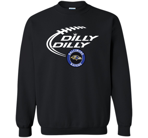 DILLY DILLY Baltimore Ravens shirt Black / Small Crewneck Pullover Sweatshirt 8 oz - PresentTees