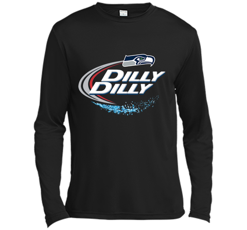 Seattle Seahawks SEA Dilly Dilly Bud Light T Shirt SEA NFL Football Gift for Fans Black / Small LS Moisture Absorbing Shirt - PresentTees