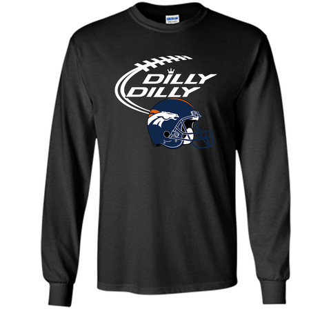 DILLY DILLY Denver Broncos NFL Team Logo Black / Small LS Ultra Cotton TShirt - PresentTees