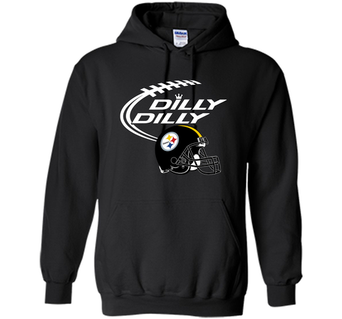 DILLY DILLY Pittsburgh Steelers NFL Team Logo Black / Small Pullover Hoodie 8 oz - PresentTees