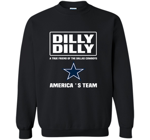 Bud Light Dilly Dilly! A True Friend Of The Dallas Cowboys Shirts Black / Small Crewneck Pullover Sweatshirt 8 oz - PresentTees