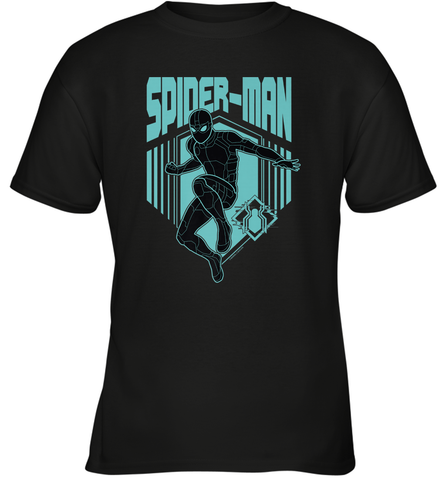 Marvel Spider Man Far From Home Stealth Suit Silhouette Youth T-Shirt Youth T-Shirt / Black / XS Youth T-Shirt - PresentTees