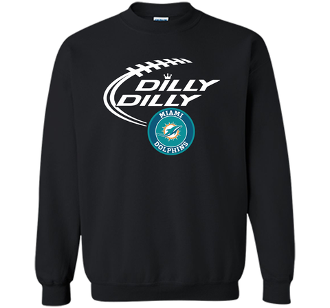 DILLY DILLY Miami dolphins shirt Black / Small Crewneck Pullover Sweatshirt 8 oz - PresentTees