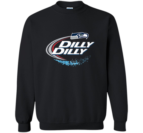 Seattle Seahawks SEA Dilly Dilly Bud Light T Shirt SEA NFL Football Gift for Fans Black / Small Crewneck Pullover Sweatshirt 8 oz - PresentTees