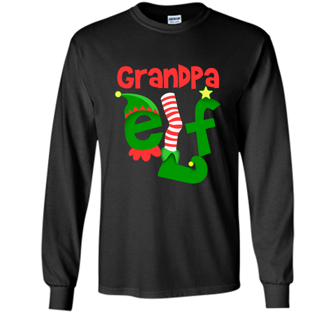 Grandpa Elf - T-Shirt Christmas Family Matching Pajamas Gift Black / Small LS Ultra Cotton TShirt - PresentTees