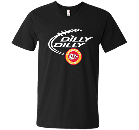 DILLY DILLY Kansas city Chiefs shirt Black / Small Men Printed V-Neck Tee - PresentTees