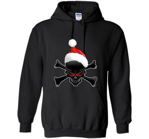 Christmas Santa Claus Ugly Black Skull T-Shirt Black / Small Pullover Hoodie 8 oz - PresentTees