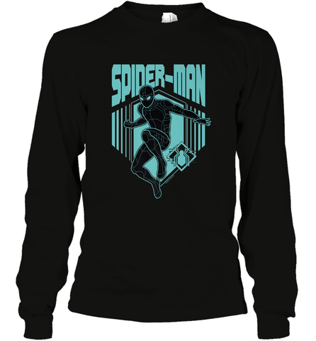 Marvel Spider Man Far From Home Stealth Suit Silhouette Long Sleeve T-Shirt Long Sleeve T-Shirt / Black / S Long Sleeve T-Shirt - PresentTees