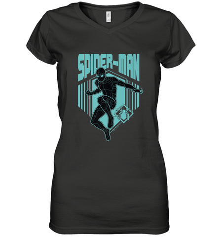 Marvel Spider Man Far From Home Stealth Suit Silhouette Women's V-Neck T-Shirt Women's V-Neck T-Shirt / Black / S Women's V-Neck T-Shirt - PresentTees