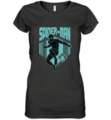 Marvel Spider Man Far From Home Stealth Suit Silhouette Women's V-Neck T-Shirt Women's V-Neck T-Shirt - PresentTees