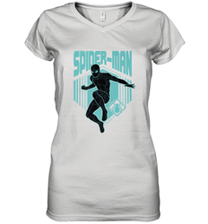 Marvel Spider Man Far From Home Stealth Suit Silhouette Women's V-Neck T-Shirt