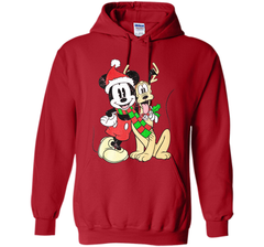 Disney Mens Mickey Mouse & Pluto Christmas Holiday Distressed Print Pullover Hoodie 8 oz - PresentTees