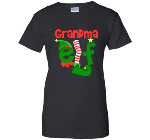 Grandma Elf - T-Shirt Christmas Family Matching Pajamas Gift Black / Small Ladies Custom - PresentTees