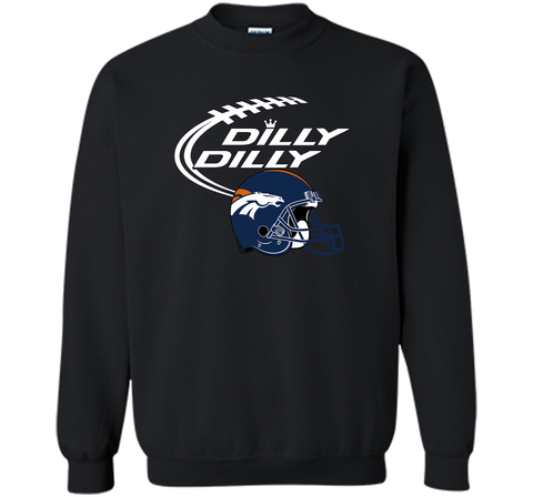 DILLY DILLY Denver Broncos NFL Team Logo Black / Small Crewneck Pullover Sweatshirt 8 oz - PresentTees