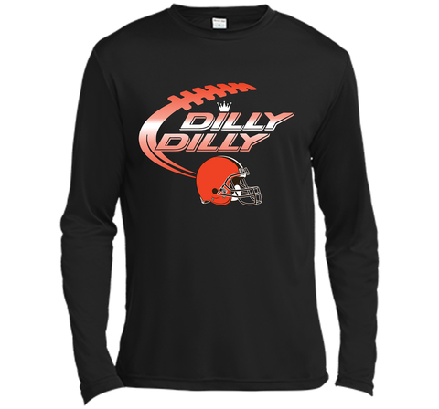 Cleveland Browns Dilly Dilly Bud Light T-Shirt NFL Football for Fans Black / Small LS Moisture Absorbing Shirt - PresentTees