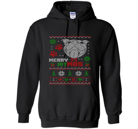 Merry Pitmas Christmas Sweater Design Gift for Pit Lovers T-Shirt Black / Small Pullover Hoodie 8 oz - PresentTees