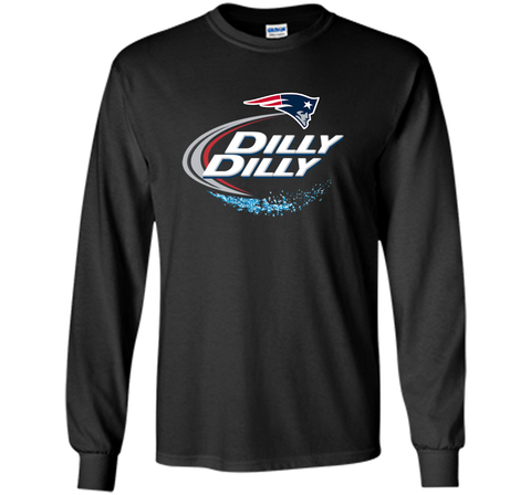 New England Patriots Dilly Dilly T-Shirt NFL Football Gift Fans Black / Small LS Ultra Cotton TShirt - PresentTees