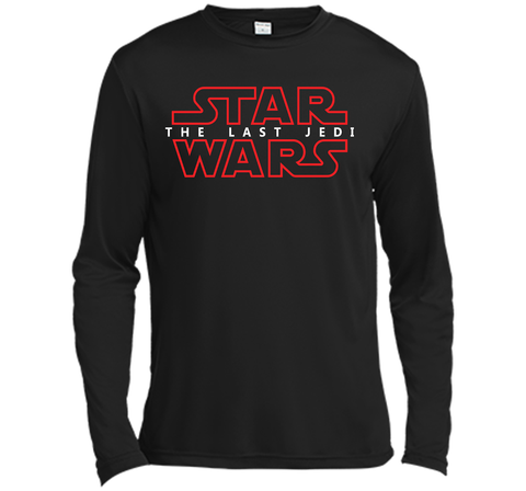Star Wars Last Jedi Red Outline Logo Graphic Black / Small LS Moisture Absorbing Shirt - PresentTees