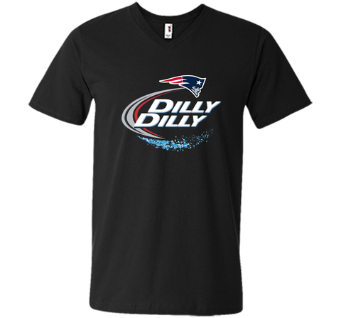 New England Patriots Dilly Dilly T-Shirt NFL Football Gift Fans Black / Small Men Printed V-Neck Tee - PresentTees