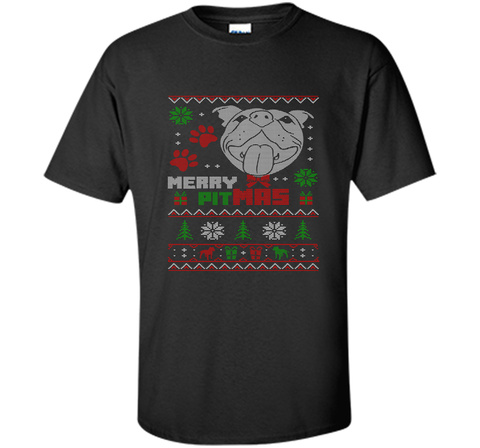 Merry Pitmas Christmas Sweater Design Gift for Pit Lovers T-Shirt Black / Small Custom Ultra Cotton Tshirt - PresentTees