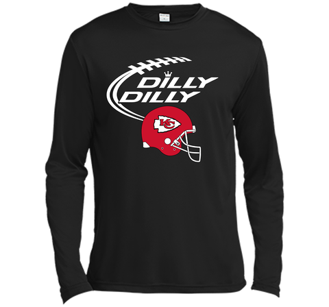 DILLY DILLY Kansas City Chiefs NFL Team Logo Black / Small LS Moisture Absorbing Shirt - PresentTees
