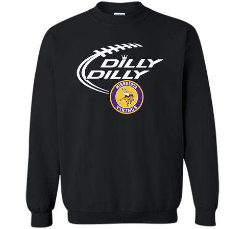 DILLY DILLY Minnesota Vikings shirt Black / Small Crewneck Pullover Sweatshirt 8 oz - PresentTees