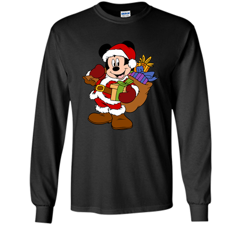 Disney Santa Mickey Mouse Christmas gifts Black / Small LS Ultra Cotton TShirt - PresentTees