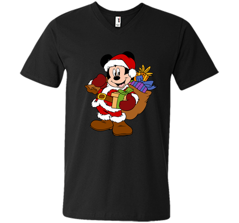 Disney Santa Mickey Mouse Christmas gifts Black / Small Men Printed V-Neck Tee - PresentTees