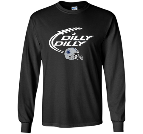 Dilly Dilly Dallas Cowboy Logo American Football Team Bud Light Christmas T-Shirt Black / Small LS Ultra Cotton TShirt - PresentTees