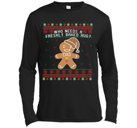 GINGERBREAD funny christmas shirt  Black / Small LS Moisture Absorbing Shirt - PresentTees
