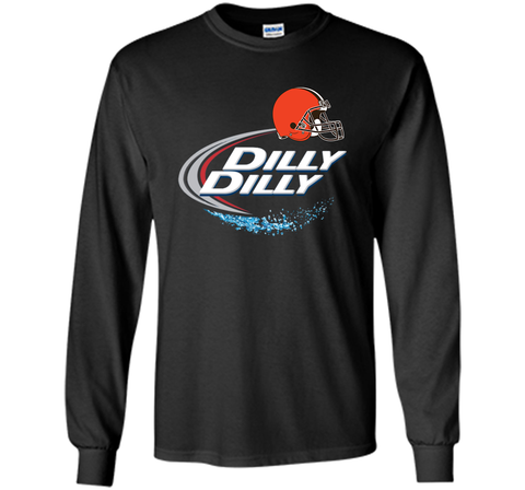 Cleveland Browns Dilly Dilly Bud Light T-Shirt CLE NFL Football Team Gift for Fans Black / Small LS Ultra Cotton TShirt - PresentTees