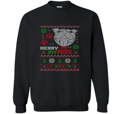Merry Pitmas Christmas Sweater Design Gift for Pit Lovers T-Shirt Black / Small Crewneck Pullover Sweatshirt 8 oz - PresentTees