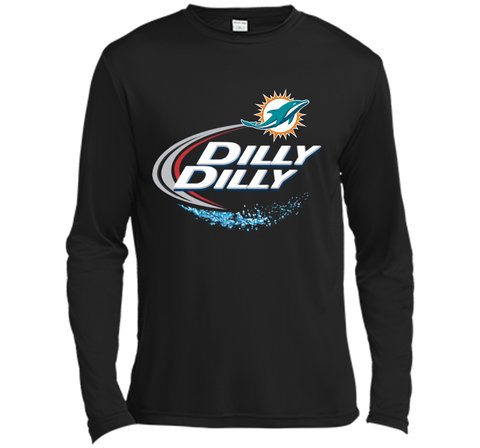 Miami Dolphins MIA Dilly Dilly Bud Light T Shirt MIA NFL Football Shirts Gift for Fans Black / Small LS Moisture Absorbing Shirt - PresentTees