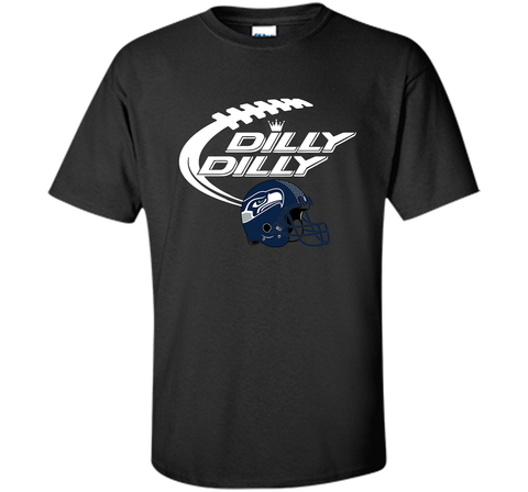 Seattle Seahawks Dilly Dilly Bud Light T-Shirt SEA NFL Football Gift for Fans Black / Small Custom Ultra Cotton Tshirt - PresentTees