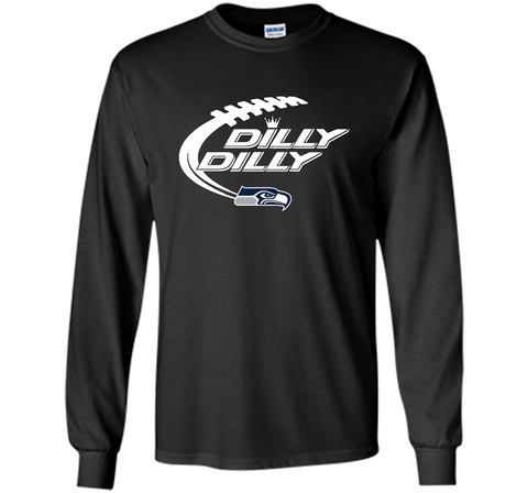 Seattle Seahawks Dilly Dilly Bud Light T Shirt SEA NFL Football Gift for Fans Black / Small LS Ultra Cotton TShirt - PresentTees