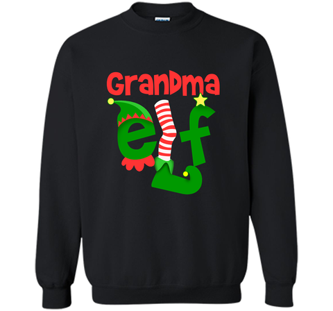 Grandma Elf - T-Shirt Christmas Family Matching Pajamas Gift Black / Small Crewneck Pullover Sweatshirt 8 oz - PresentTees