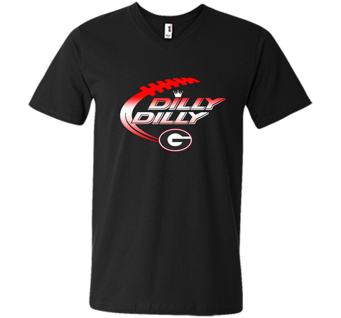 Georgia Bulldogs Dilly Dilly T-Shirt Dilly Dilly Georgia Bulldog for Football Fans Black / Small Men Printed V-Neck Tee - PresentTees