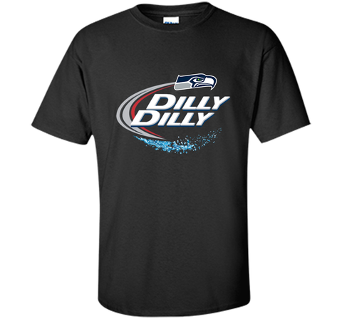 Seattle Seahawks SEA Dilly Dilly Bud Light T Shirt SEA NFL Football Gift for Fans Black / Small Custom Ultra Cotton Tshirt - PresentTees
